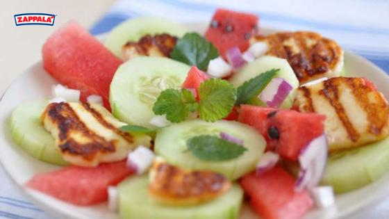 insalata cetriolo, anguria e scamorza